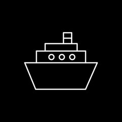 Flat line monochrome ship symbol for web sites and apps. Minimal simple black and white ship symbol. Isolated vector white ship symbol on black background.