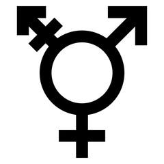gz313 GrafikZeichnung - english - lesbian, gay, bisexual and transgender symbol: (LGBT) - gender / male-transgender-female - simple template / close-up - black / white - square xxl - g7161