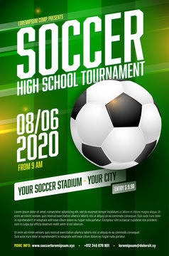 Soccer tournament poster template with ball and grass