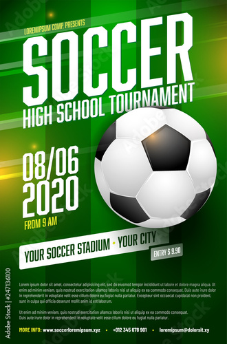 Soccer Tournament Poster Template With Ball And Grass Fichier