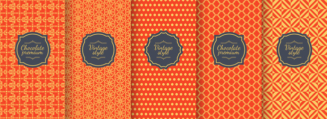 Chinese vector seamless patterns. Premium vintage backgrounds.