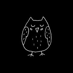 Cute cartoon hand drawn owl silhouette. Sweet vector black and white owl silhouette. Isolated monochrome doodle owl silhouette on black background.