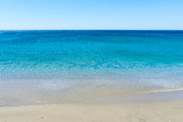 the sand on the shore of the Mediterranean sea