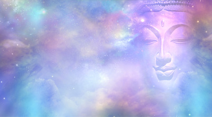 Poster Buddha Cosmic Buddha Vision Cloud scape - Semi transparent Buddha face with closed eyes amongst the celestial heavens providing a beautiful pink and blue sky background