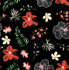 tropical pattern with pink orchids and palm leaves, seamless background