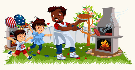 Picture of cheerful family cooking bbq and spending time together