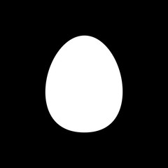 Flat line monochrome egg sign for web sites and apps. Minimal simple black and white egg sign. Isolated vector white egg sign on black background.