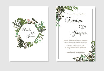Set for wedding invitation, greeting card, save date, banner. Fern leaf, boxwood, brunia and eucalyptus. Square, geometric figure, vertical rectangle on white background. Vector template