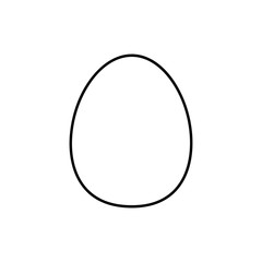 Flat line monochrome egg icon for web sites and apps. Minimal simple black and white egg icon. Isolated vector black egg icon on white background.
