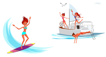 Cartoon set of girl surfing and smiling