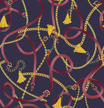 Seamless gold color chain, tassel and belts pattern on dark purple background. Pattern for summer designs.