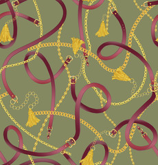 Seamless gold color chain, tassel and belts pattern on light green background. Pattern for summer designs.