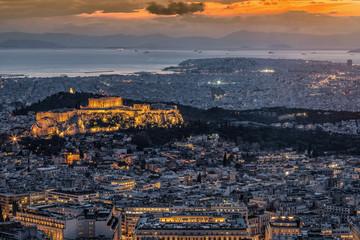 Fototapete - Blick über Athen, Griechenland, bei Sonnenuntergang mit der Akropolis und zahlreichen Sehenswürdigkeiten