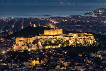 Fototapete - Blick auf den Parthenon Tempel der Akropolis von Athen, Griechenland, am Abend