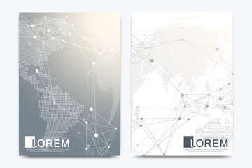 Modern vector template for brochure, leaflet, flyer, cover, banner, catalog, magazine, or annual report in A4 size. Futuristic science and technology design. Geometric graphic background molecule