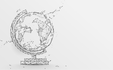 Globe icon from lines, triangles and particle style design. Illustration vector Wall mural
