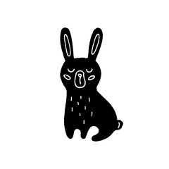 Cute cartoon hand drawn rabbit drawing. Sweet vector black and white rabbit drawing. Isolated monochrome doodle rabbit drawing on white background.