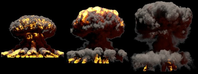 3D illustration of explosion - 3 big different phases fire mushroom cloud explosion of atom bomb with smoke and flame isolated on black background
