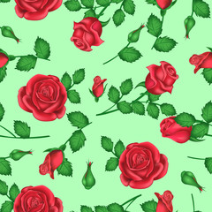 Valentines day background with roses with light green shades for decoration