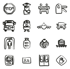 Border Crossing Icons Freehand