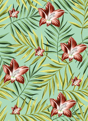Floral tropical seamless pattern background with exotic flowers