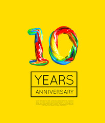 10th Anniversary, congratulation for company or person on yellow background. Vector