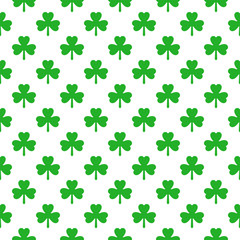Shamrock clover seamless pattern. Green and white. Vector illustration.