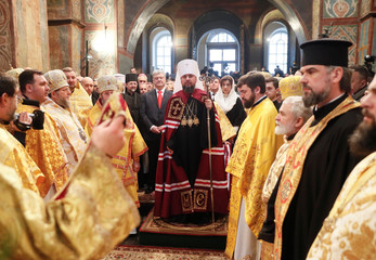Participants attend a ceremony to enthrone Metropolitan Epifaniy, head of the Orthodox Church of Ukraine, in Kiev