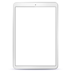 White Tablet Computer With Blank Screen Vector Illustration