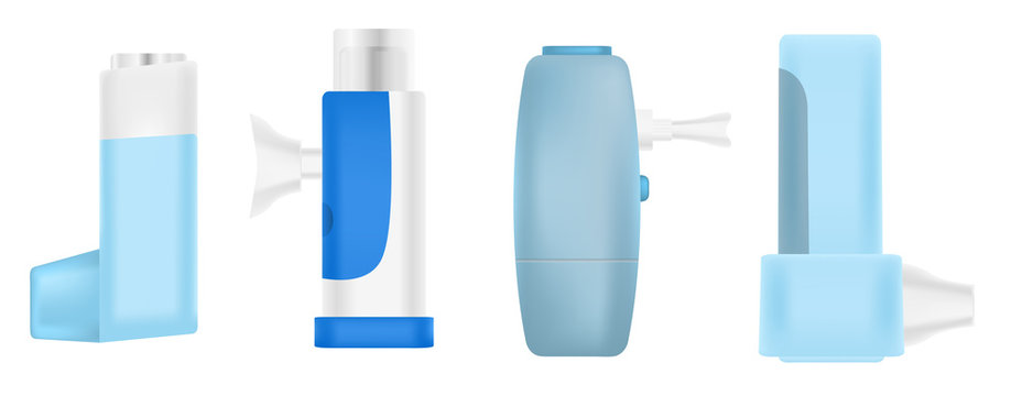 Inhaler icons set. Realistic set of inhaler vector icons for web design isolated on white background