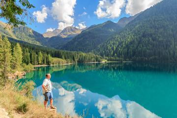 Man overlooking the Lake Antholz
