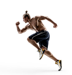 Man runner in silhouette on white background. Dynamic movement. Side view. Strength and motivation. Full length