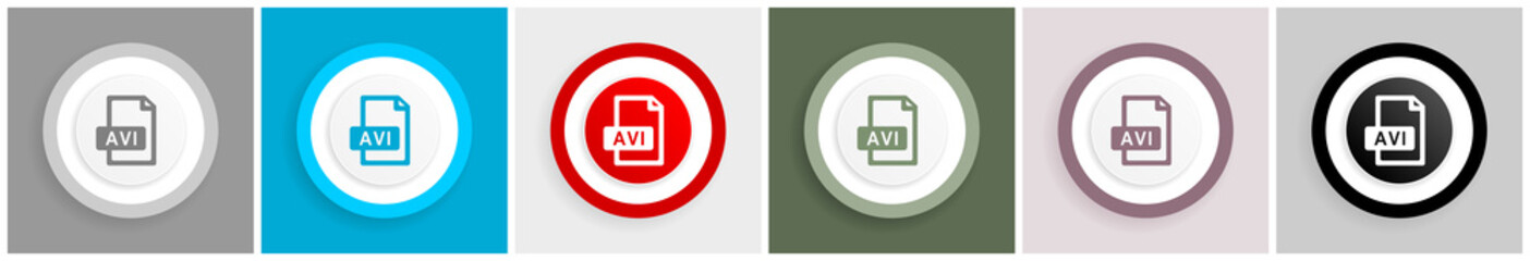 Avi file icon set, vector illustrations in 6 options for web design and mobile applications.