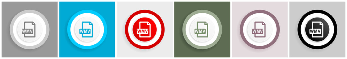 Wmv file icon set, vector illustrations in 6 options for web design and mobile applications.