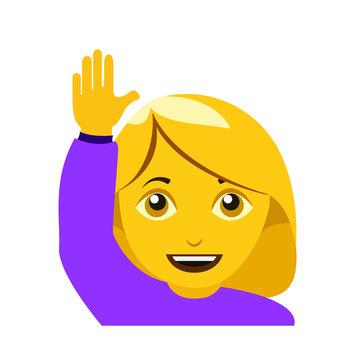 Raising hand woman emoji
