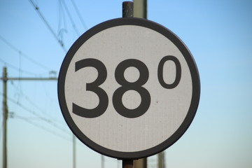 Distance sign in kilometers along a railroad track in the Netherlands
