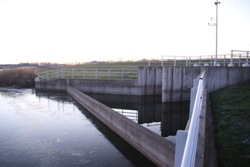 Water inlet Eendragtspolder water storage which will be used when water in river Rotte comes too high and Rotterdam has to be protected agains flood