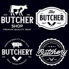 Set of Butcher Shop and Butchery hand written lettering logo, label, badge, emblem. Template for shop, cover, sticker, print, business works. Vintage retro style.