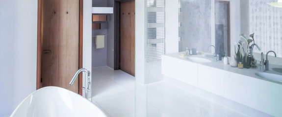 Modern bathroom adaptation in panoramic view - 3d visualization