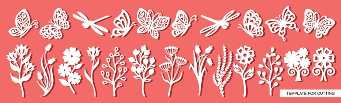 Set of twigs, flowers, butterflies and dragonflies. Plant theme. White objects on a pink background. Template for laser cutting, wood carving, paper cut and printing. Vector illustration.