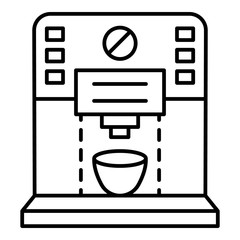 Plastic coffee machine icon. Outline plastic coffee machine vector icon for web design isolated on white background