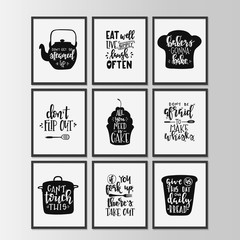 Happy kitchen drawn typography poster. Conceptual handwritten phrase Home and Family T shirt hand lettered calligraphic design.