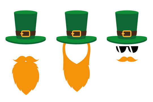 leprechaun character face with red beard and green hat set on white background vector illustration EPS10
