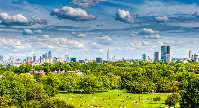 London's skyline from Primrose Hill near camden in London
