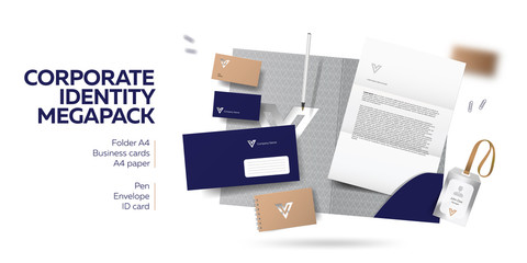 Corporate branding identity design. Stationery mockup vector megapack set. Template for industrial or technic company. Folder and A4 letter, visiting card and envelope. Colorful creative logo design.