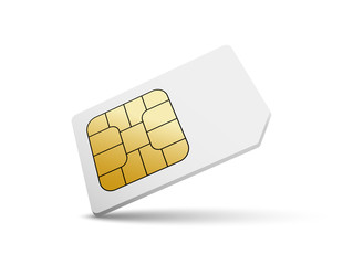 Sim card vector mobile phone icon chip. Simcard isolated 3d design gsm