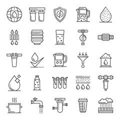 Filter water icons set. Outline set of filter water vector icons for web design isolated on white background