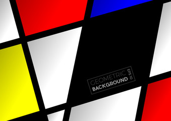 Geometric abstract  polygons with Mondrian colors, vector background