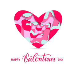 Happy Valentines Day background with pink paper cut  heart and c