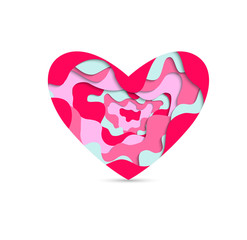 Pink and tiffany paper cut  heart . Holiday icon heart vector.